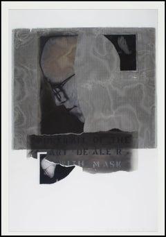 """Art Dealer With Mask (Portrait of David Barnett),"" Mixed Media signed"