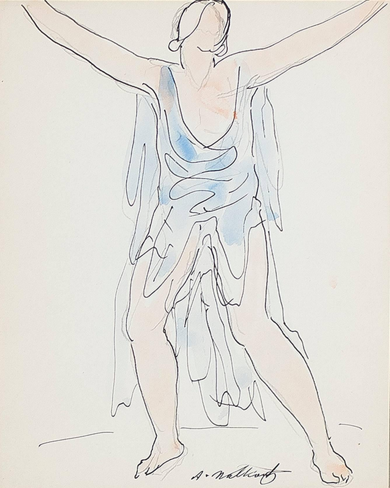 """""""Isadora Duncan (Blue),"""" Pen, Ink, & Watercolor signed by Abraham Walkowitz"""