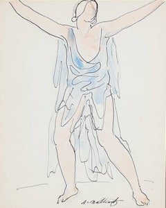 """Isadora Duncan (Blue),"" Pen, Ink, & Watercolor signed by Abraham Walkowitz"