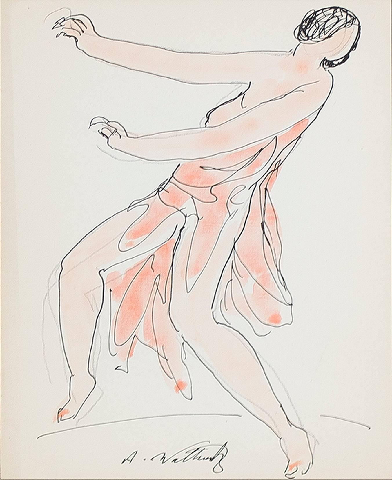 """Isadora Duncan (Orange),"" Pen, Ink, & Watercolor signed by Abraham Walkowitz"