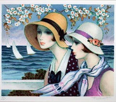 """Femmes au Bord de la Mer,"" Original Color Lithograph signed by Francois Batet"