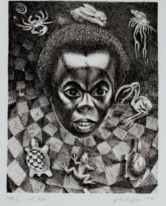 """...At Risk,"" Original Black & White Lithograph Portrait signed by John Biggers"