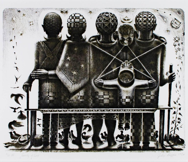 """""""Family of Six"""" is an original black and white lithograph by John Biggers. The artist signed and dated the piece in the lower right and titled and editioned it (AP III) in the lower left. This print depicts a family of obscured people with surreal"""