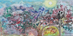 """""""Moonscape,"""" Multicolored Acrylic on Canvas signed on Verso by Helen Hulsey"""