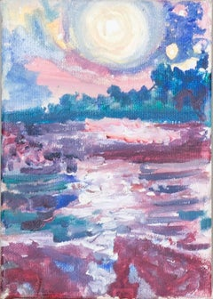 """Under the Moonlight Beside the Sea of Shining Light"" Oil signed by Helen Hulsey"