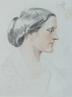 """Lady Mary Stanhope,"" pencil and pastel by Constance de Rothschild"