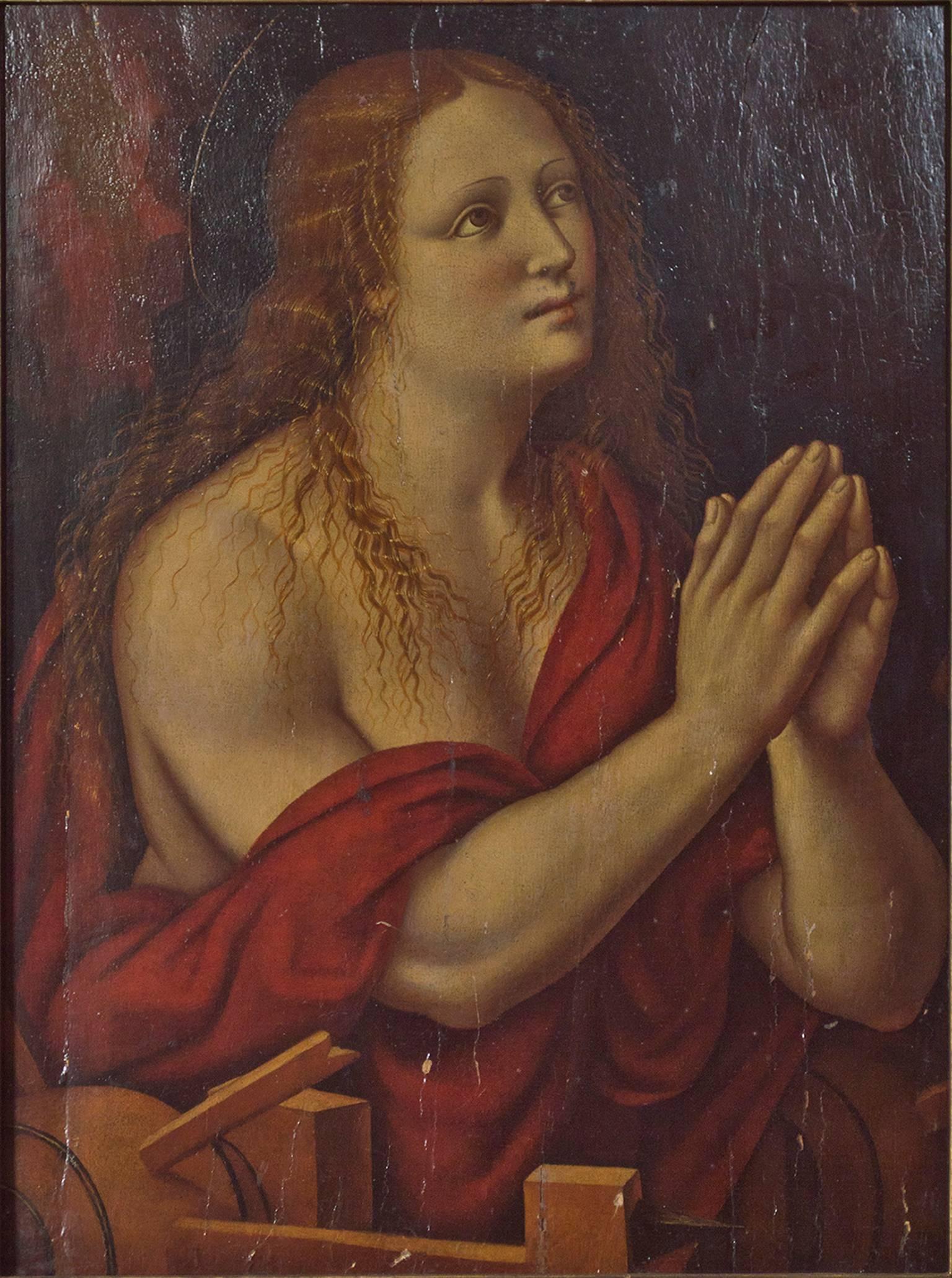 """Caterina d'Alexandria (Saint Catherine of Alexandria),"" Oil Painting on Wood"