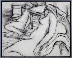 """""""Two Nudes,"""" charcoal figurative drawing by Estherly Allen"""
