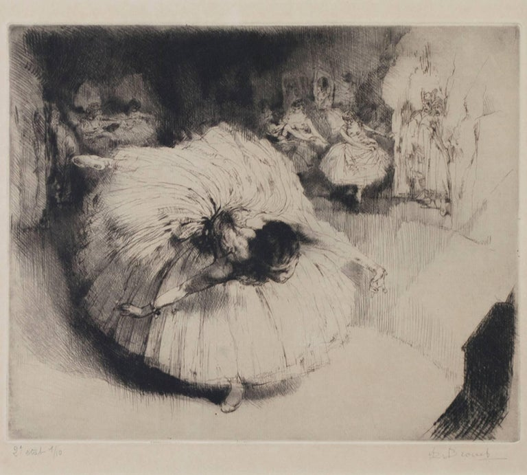 """""""Danseuse,"""" original etching and drypoint by Auguste Brouet"""