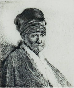 """Rembrandt's Father Wearing a High Cap,"" original etching by Rembrandt van Rijn"