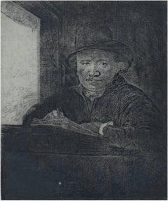 """Self Portrait Drawing at a Window,"" original etching by Rembrandt van Rijn"