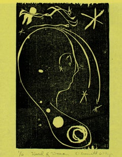"""Head of Woman, ed. 1/6"" woodcut on yellow paper by David Barnett"