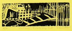 """The Fence, Private Keep Out,"" original linocut on yellow paper by David Barnett"