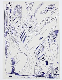 """Circus Side Show with Flying Turtles,"" purple ink drawing by David Barnett"