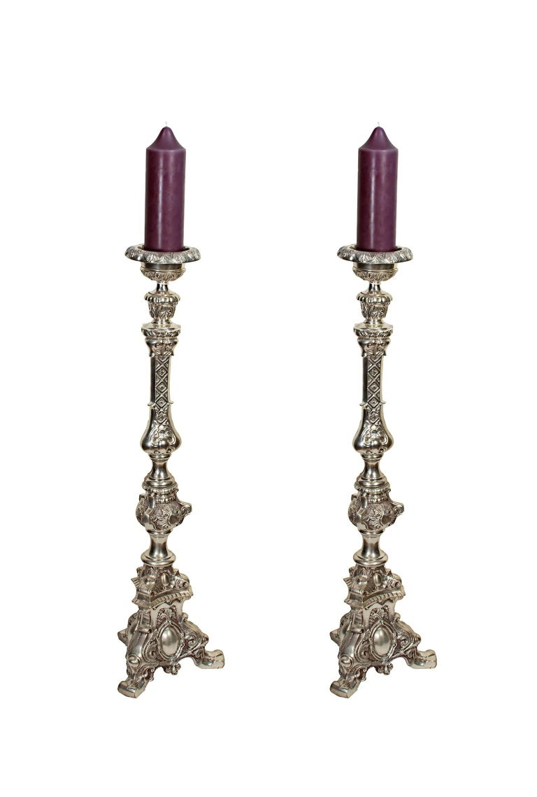 Candlestick, silver-plated bronze