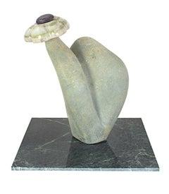 """Flower,"" opal, jade, and cobalt sculpture by Aaron Perkins Chikumbirike"