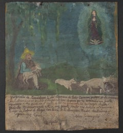 """Retablo: Shepherd with Vision of Virgin of Guadalupe"" by Jeronimo Crus"
