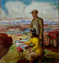 """""""Sketching Wisconsin,"""" oil painting on canvas by John Steuart Curry"""