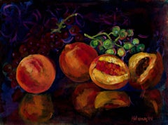 """Still Life with Peaches & Grapes,"" oil on paper by Catherine Holmburg"