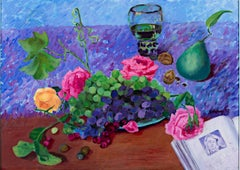"""Roses & Grapes with Pear and Book,"" mixed media painting by Catherine Holmburg"