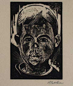 """Head of a Boy/Kopf des Jungen,"" original woodcut by Max Pechstein"