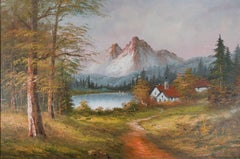 """""""Mountain, Lake, and Cottage,"""" original oil painting by Dalhart Windberg"""