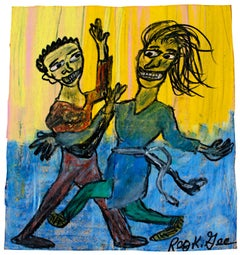 """Dance Studio,"" oil pastel on grocery bag by Reginald K. Gee"