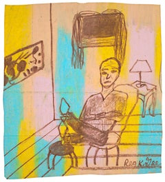"""Accented Room Featuring a Man,"" oil pastel on grocery bag by Reginald K. Gee"