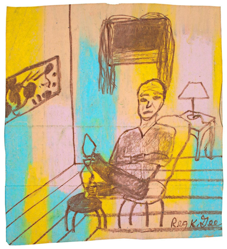 """""""Accented Room Featuring a Man,"""" oil pastel on grocery bag by Reginald K. Gee"""