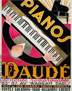 """""""Pianos Daude,"""" Original color lithograph poster for Pianos Daude"""