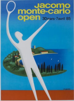 """Jacomo Monte-Carlo Open,"" original lithograph poster by Pierre Fix-Masseau"