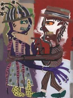 """Footwork at Random,"" acrylic on canvas diptych by Reginald K. Gee"