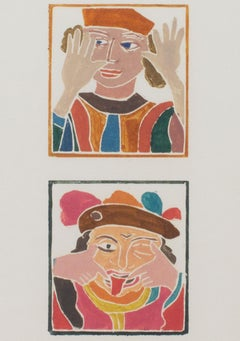 """The Court Jesters,"" two original woodcuts by Andre Derain"