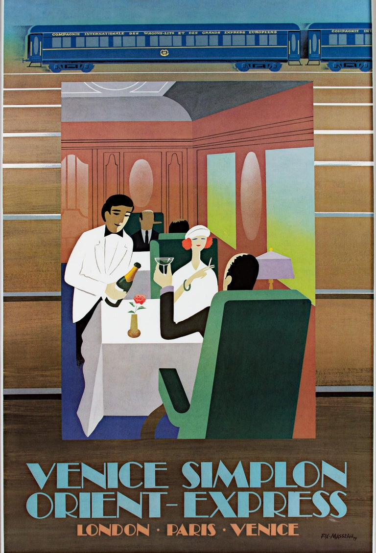 """Orient-Express"" is a lithograph poster by Pierre Fix-Masseau. It depicts two people dining and being served drinks on a luxury train. The artist signed the artwork in the image lower right. There was a small tear on the margin that has been"