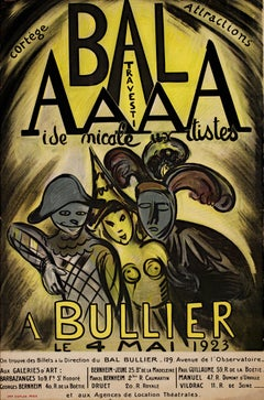 """Bal AAAA Bullier,"" original lithograph poster by Achille-Emile Othon Friesz"