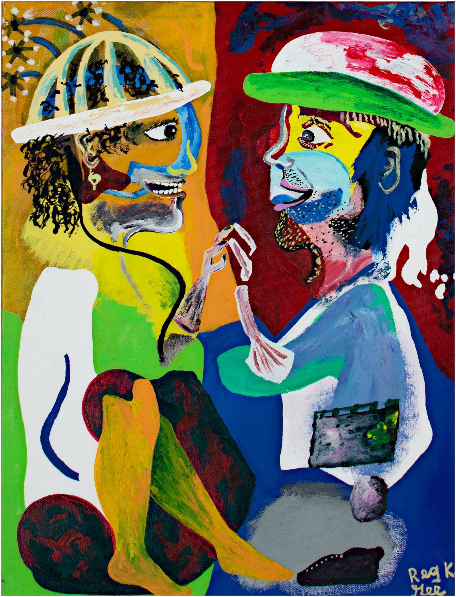 """Footwork at Random - Variation I,"" Mixed Media Acrylic signed by Reginald Gee"