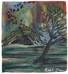 """Bats from Cave,"" oil pastel on grocery bag by Reginald K. Gee"