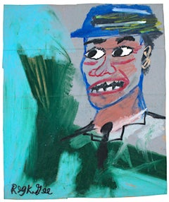 """Blue Hat, Green Shirt,"" original oil pastel on grocery bag by Reginald K. Gee"