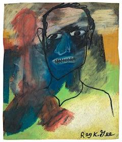 """Corey,"" original oil pastel on grocery bag by Reginald K. Gee"