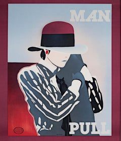 """""""Man Pull,"""" original color lithograph poster by Ducelier"""