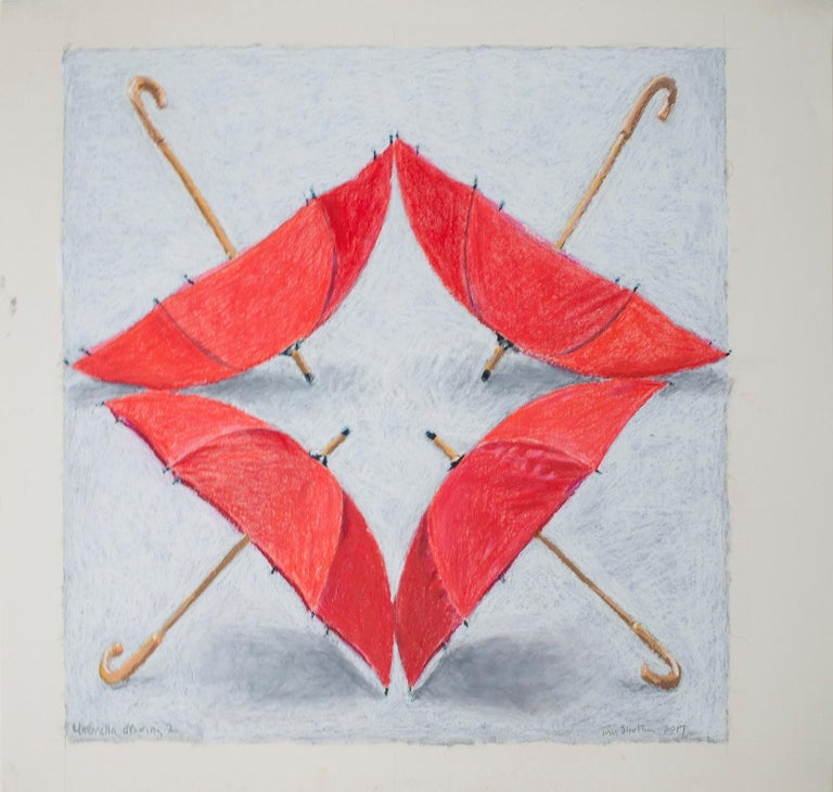 """Umbrella Drawing II,"" oil pastel drawing by Tom Shelton"