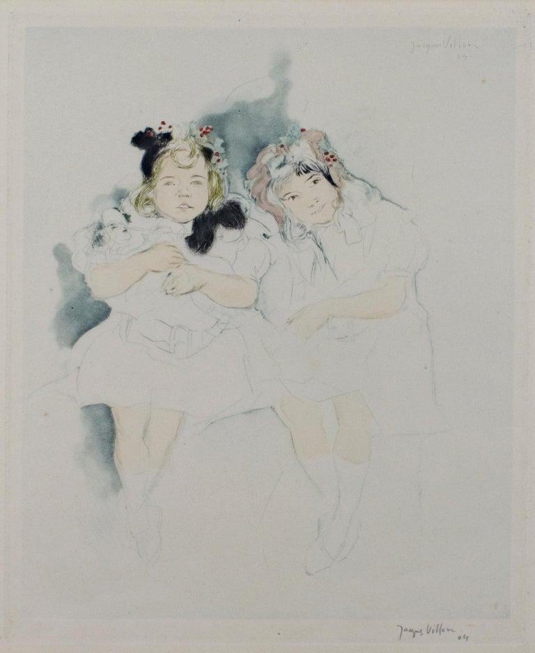 """Mes Petites Amies,"" drypoint, aquatint, & watercolor by Jacques Villon"