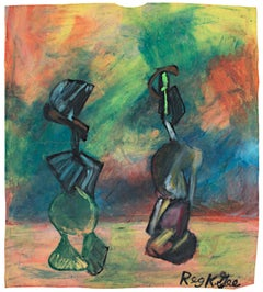 """Living Figures,"" oil pastel on grocery bag by Reginald K. Gee"