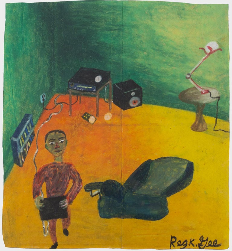 """""""Searching for Surround Sound,"""" oil pastel on grocery bag by Reginald K. Gee"""