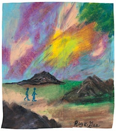 """Region Nine Walkers,"" oil pastel on grocery bag by Reginald K. Gee"