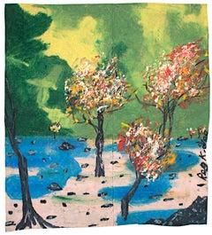"""""""Smile Park,"""" oil pastel on grocery bag by Reginald K. Gee"""