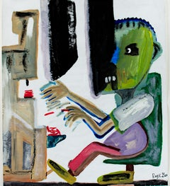 """""""Man with Drill Machine,"""" acrylic on parchment paper by Reginald K. Gee"""