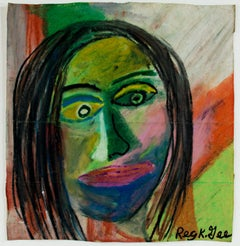 """Painting Style of 814 BC,"" oil pastel on grocery bag by Reginald K. Gee"