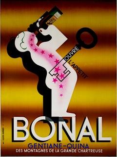 """Bonal,"" original lithograph poster by Adolphe Mouron Cassandre"