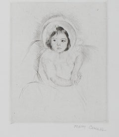 """""""Margot Wearing a Bonnet (No. 5),"""" drypoint on laid paper by Mary Cassatt"""